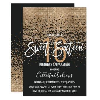 Modern Black Gold Glitter Confetti Sweet 16
