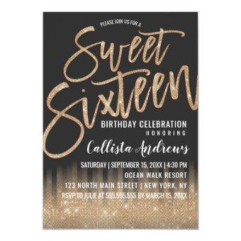 Modern Black Gold Glitter Typography Sweet 16