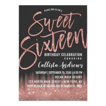 Modern Black Rose Gold Glitter Typography Sweet 16