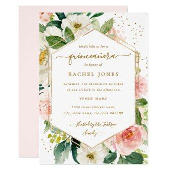 Modern Blush Gold Floral Watercolor