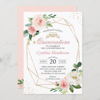 Modern Blush Pink Floral Quinceañera 15th Birthday