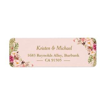 Modern Blush Pink Gold Glitter Floral Label