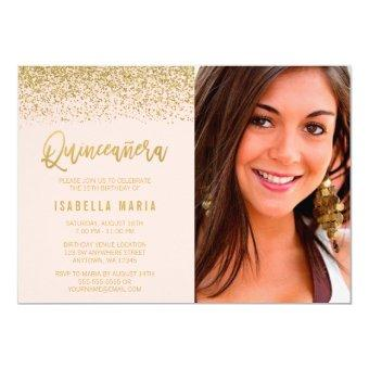 Modern Blush Pink Gold Glitter Photo