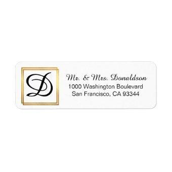 Modern Elegant Black Gold Frame Monogram Initials Label