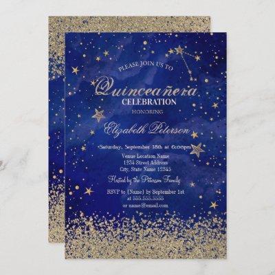 Modern Faux Gold Diamonds Stars Blue Quinceañera