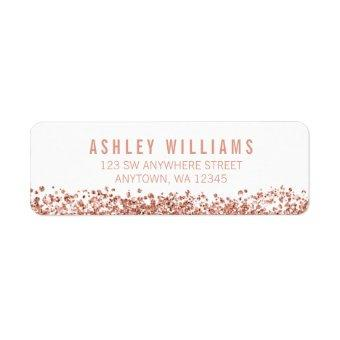 Modern Faux Rose Gold Glitter Label