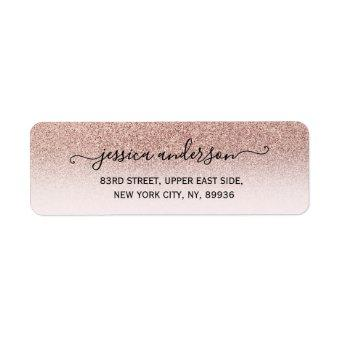 Modern girly faux rose gold glitter ombre label