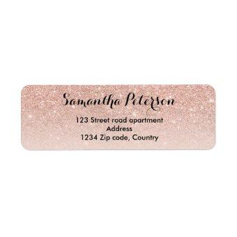 Modern girly rose gold glitter ombre blush pink label