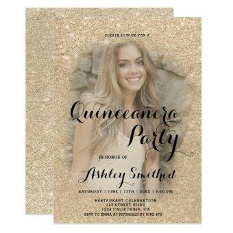 Modern gold glitter sparkle photo Quinceañera