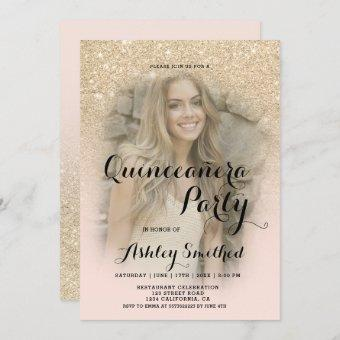 Modern light gold glitter ombre photo Quinceañera