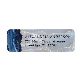 Modern Navy Blue Gold Foil Marble Watercolor Agate Label