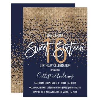 Modern Navy Blue Gold Glitter Confetti Sweet 16