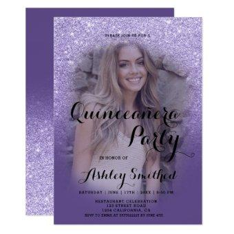 Modern purple glitter ombre photo Quinceañera