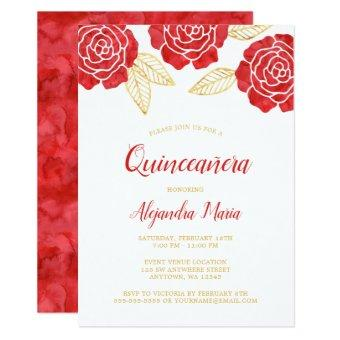 Modern Red Gold Roses Quinceanera Invitation