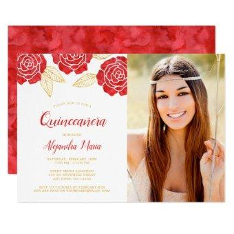 Modern Red Gold Roses Photo