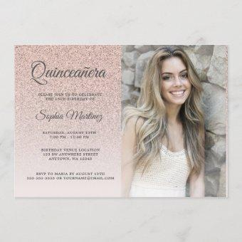 Modern rose gold glitter ombre photo Quinceañera