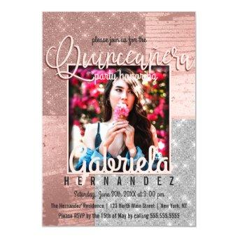 Modern Rose Gold Silver Glitter Photo Quinceañera Magnetic