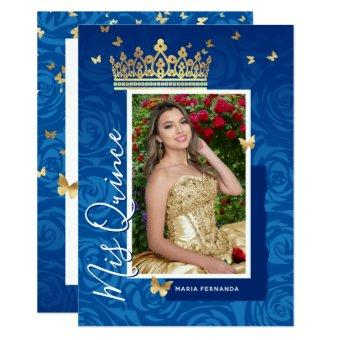 Modern Royal Blue Gold Elegant Photo