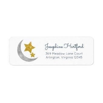 Moon & Stars Glitter Celestial Return Address Label