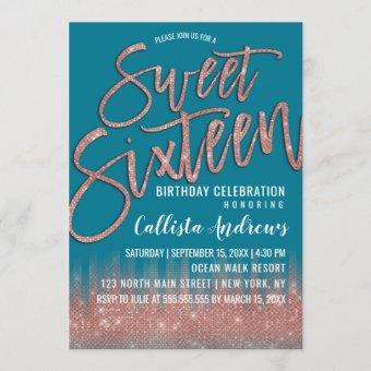 Mosaic Blue Rose Gold Glitter Typography Sweet 16