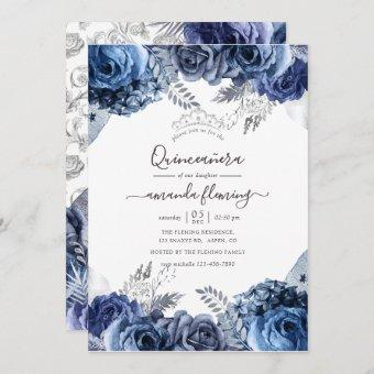 Navy and White with Silver Foil Floral Quinceañera