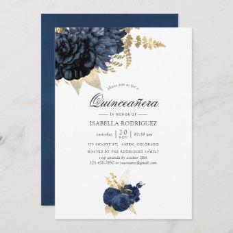 Navy Blue and Gold Vintage Rose Quinceañera