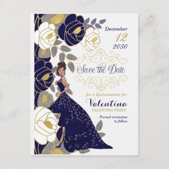 Navy Blue Floral Quincanera Save the Date Announcement Post