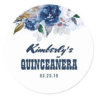 Navy Blue Floral Quinceañera 15th Birthday Classic Round Sticker
