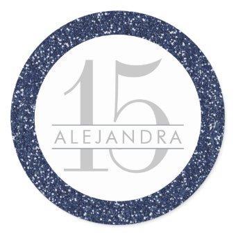 Navy Blue Glitter Quince Años Favor Sticker Label