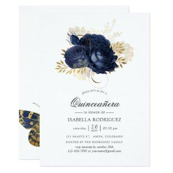 Navy Blue & Gold Vintage Shabby Roses Quinceañera