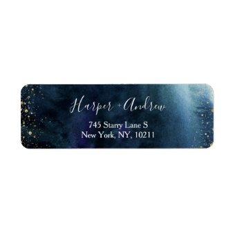 Navy Blue Ombre Watercolor Elegant Return Address Label