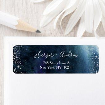 Navy Blue Ombre Watercolor Silver Return Address Label