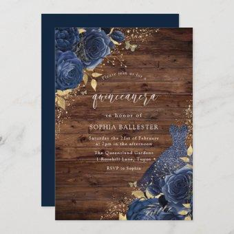 Navy Blue Rose Dress Gold Rustic Party