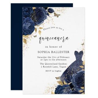 Navy Blue Roses & Dress Gold Party