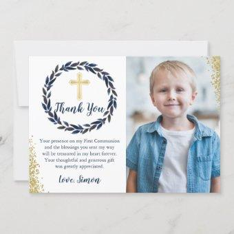 Navy Blue Wreath Gold Communion Thank you