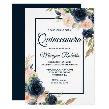 Navy & Blush Floral Elegant Party
