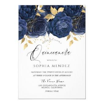 Navy Indigo Blue & Gold Floral Party