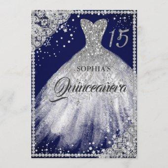 Navy Silver Diamond Lace Sparkle Gown