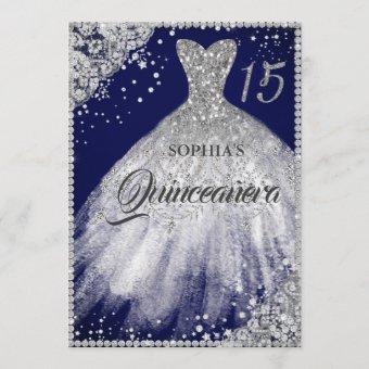 Navy Silver Diamond Lace Sparkle Gown