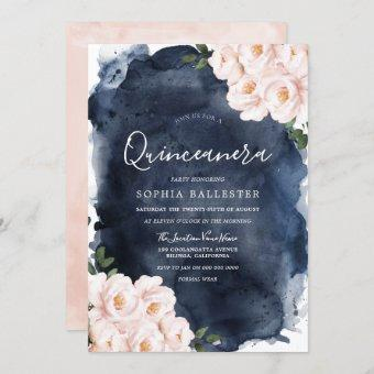 Navy Watercolor Beautiful Blush Floral