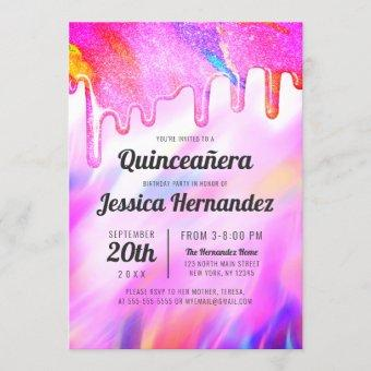 Neon Unicorn Holographic Glitter Drip Quinceañera
