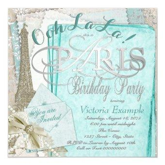 Ooh La La Teal Vintage Paris Birthday Party