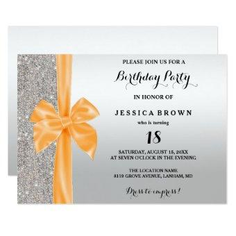 Orange Silk Bow Silver Sequins 18th Birthday