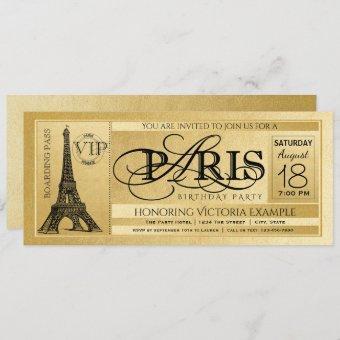 Paris Birthday Party Gold Paris Ticket