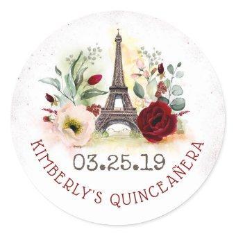 Paris Blush and Burgundy Floral Classic Round Sticker