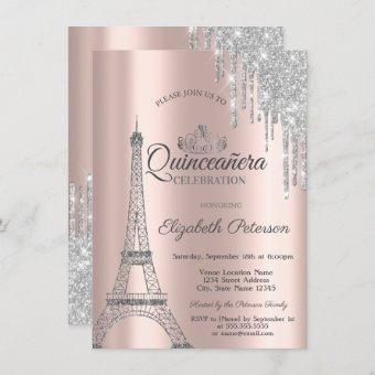 Paris Eiffel Tower,Drips Rose Gold Quinceañera