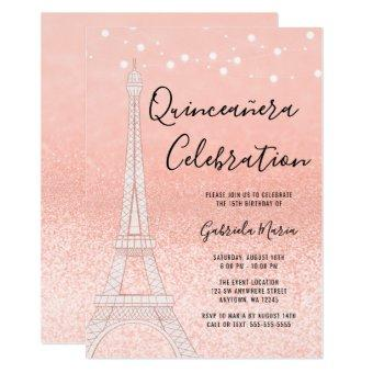Paris Rose Gold Glitter Lights Quinceañera