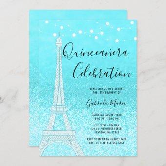 Paris Teal Blue Glitter Lights Quinceañera