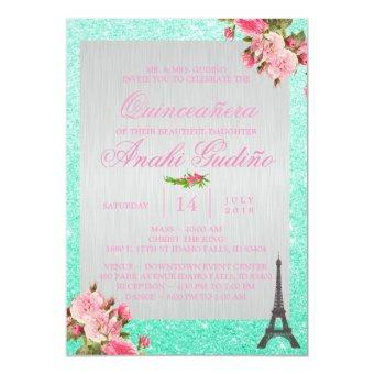 Paris Theme Quinceañera Invite