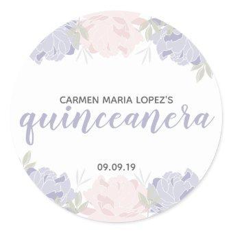 Pastel Pink & Purple Peonies Quinceañera Birthday Classic Round Sticker